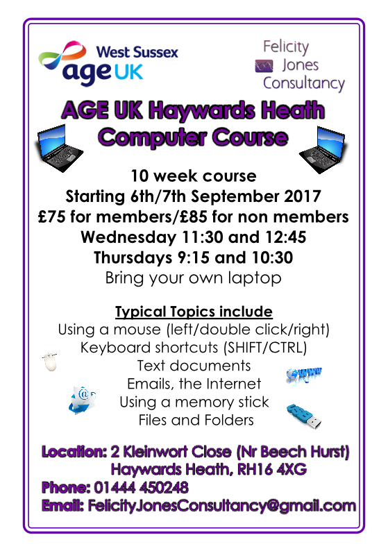 Age UK HH Computer Course Autumn 2017